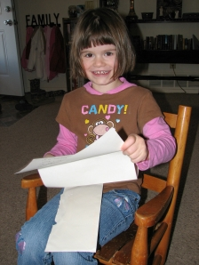 Abbye reading her letter from Daddy