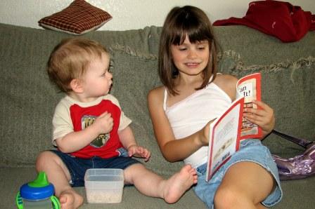 Abbye reading to Neil
